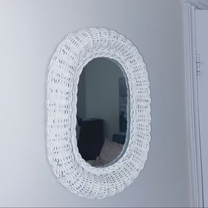 Other - Small white wicker mirror